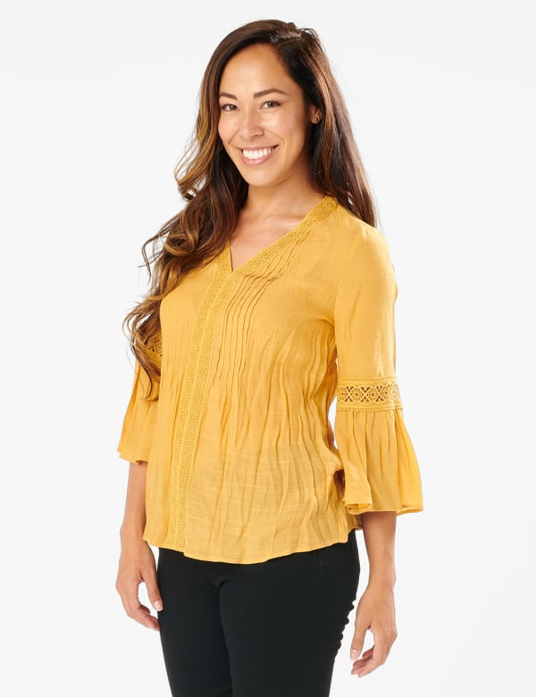 Textured Crochet V Neck Woven Top - MUSTARD - Front