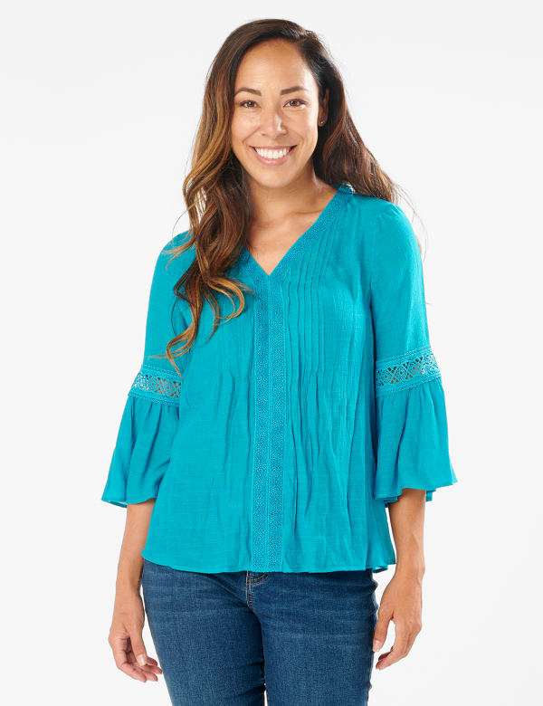 Textured Crochet V Neck Woven Top - Peacock Plume - Front
