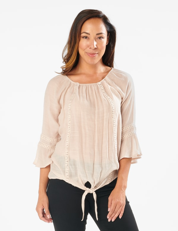Textured Crochet Trim Tie Front Woven Top - Raw Silk - Front