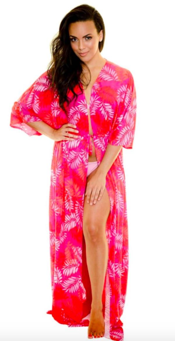 Pink Palm Swim Kimono - Pink - Front