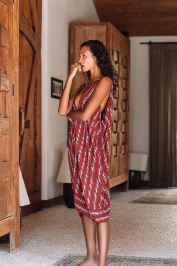 Striped Loose Dress - Red stripe - Front