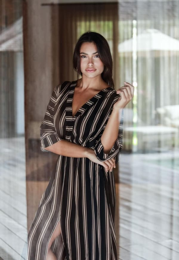 Kaftan Striped Dress - Black stripe - Front
