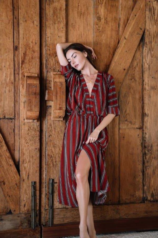 Kaftan V-Neckline Striped Dress