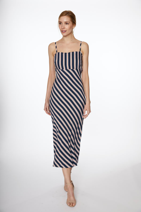 Multi Stripe Woven Maxi Dress - Navy Multi - Front