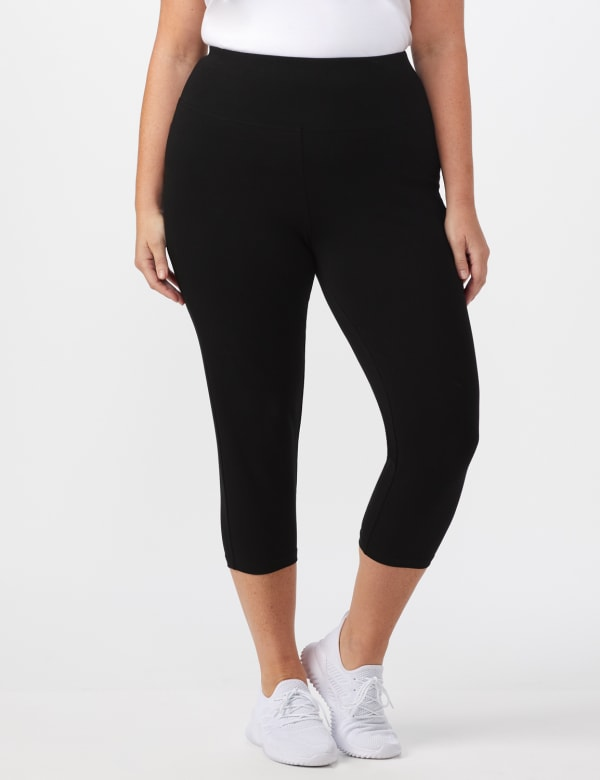 Tummy Control Capri - Plus - Black - Front