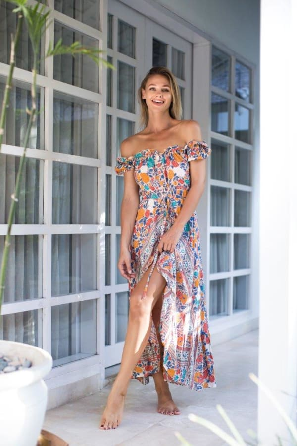 Off-Shoulder Maxi Dress - Multi - Front