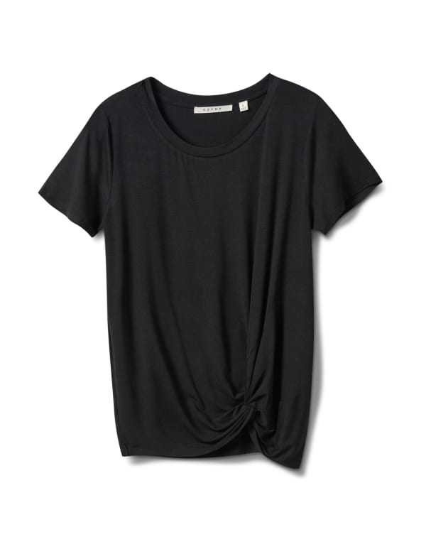 Knot Front Rayon Span Knit Tee - Black - Front