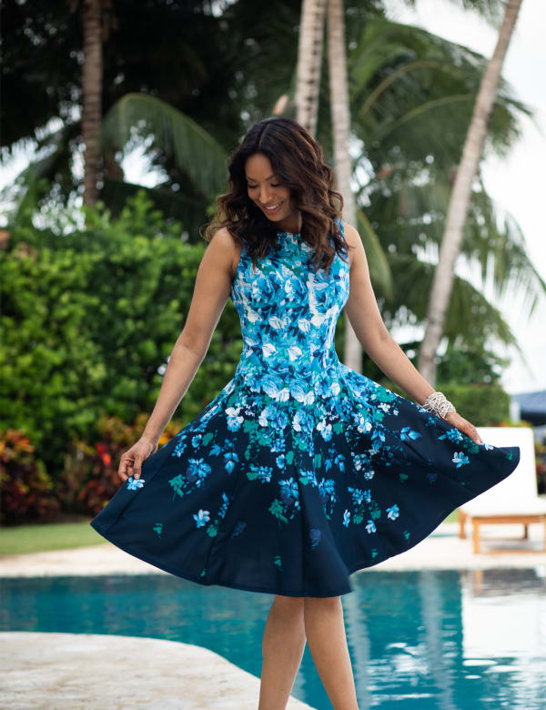Falling Floral Fit and Flare Dress - Navy/Teal - Front