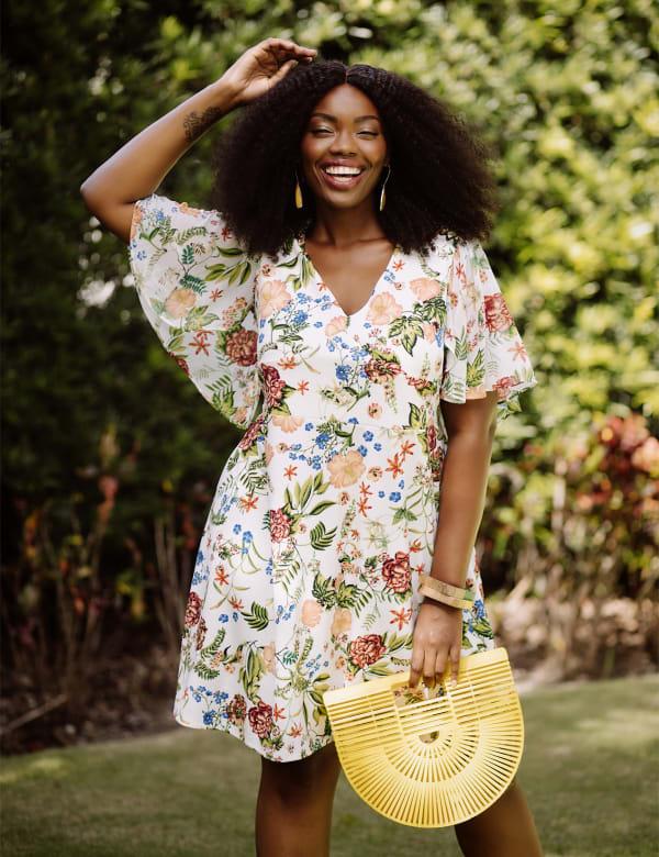 Marina Short Flutter Sleeve Floral Surplice Dress - Plus