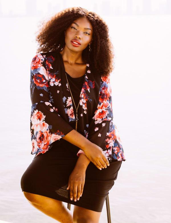 Marina Sleeveless Floral Chiffon Jacket Dress
