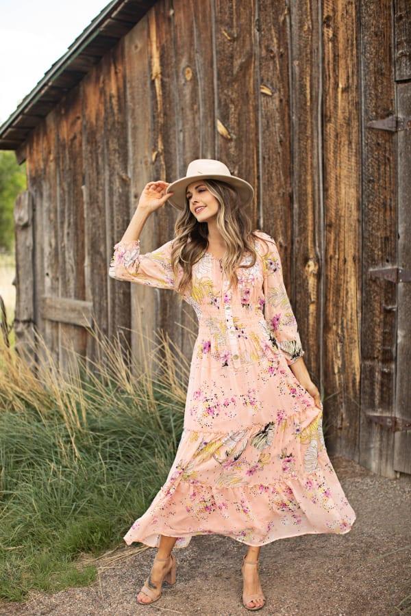 Veronica Peach Floral Peasant Maxi Dress - Cantaloupe - Front