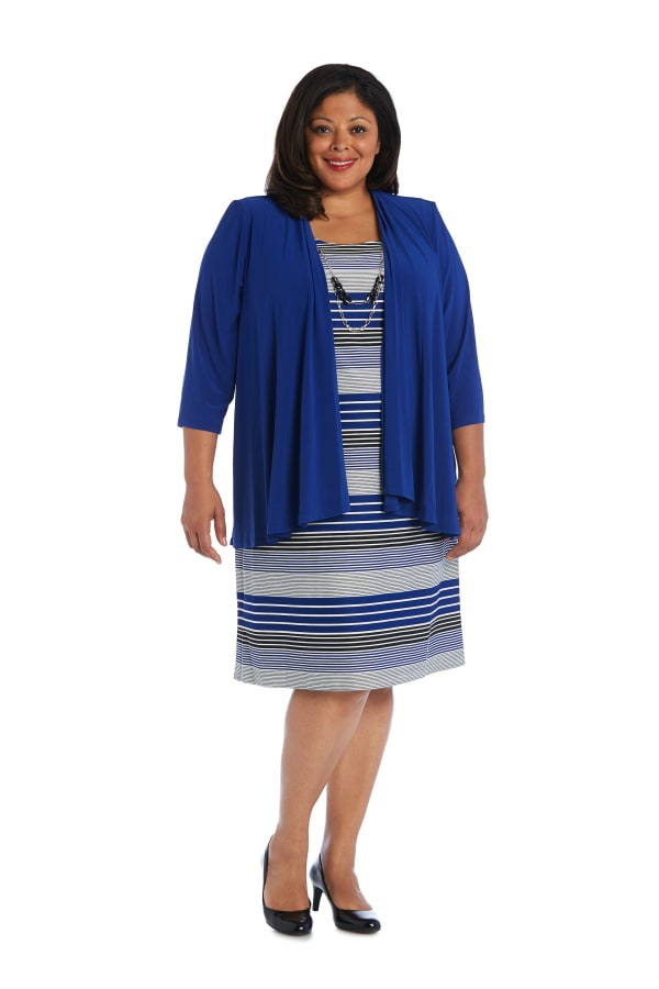 3/4 Sleeve Stripe Dress with Jacket - Plus - Royal - Front