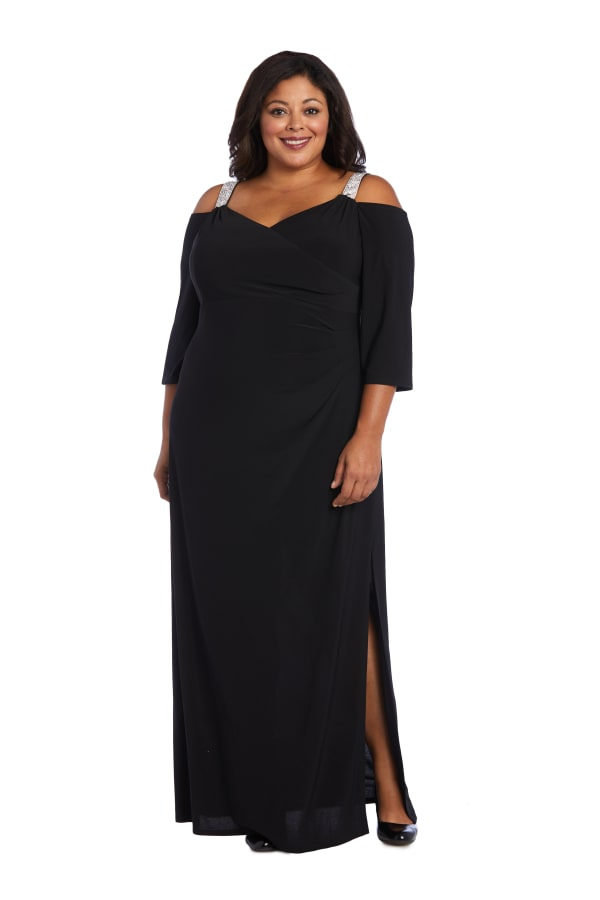Embellished Side Split Cold Shoulder Gown -Plus -Black - Front