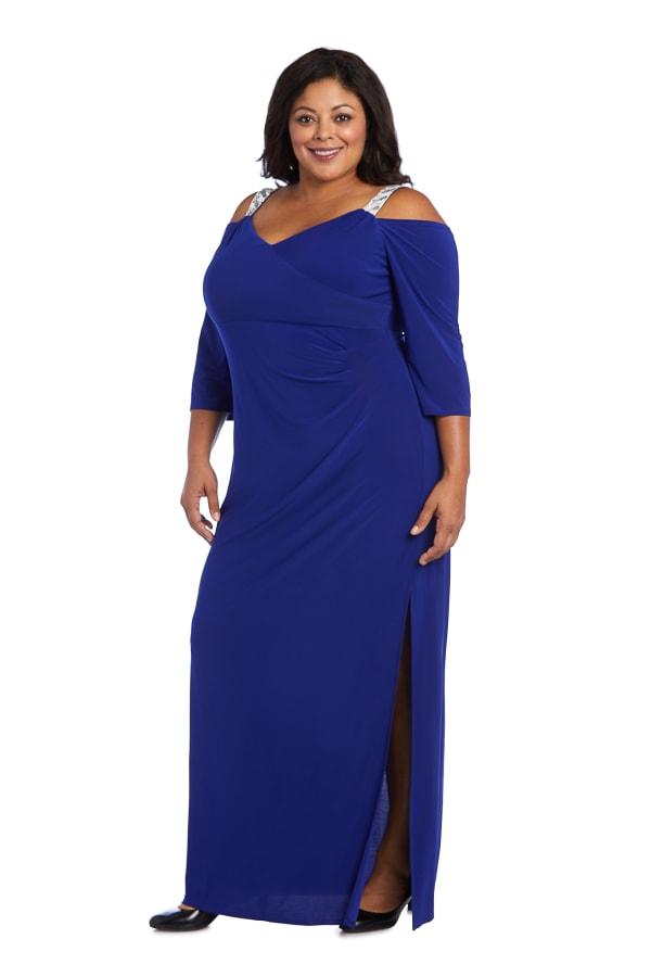 Embellished Cold Shoulder Gown -Plus - Electric Blue - Front