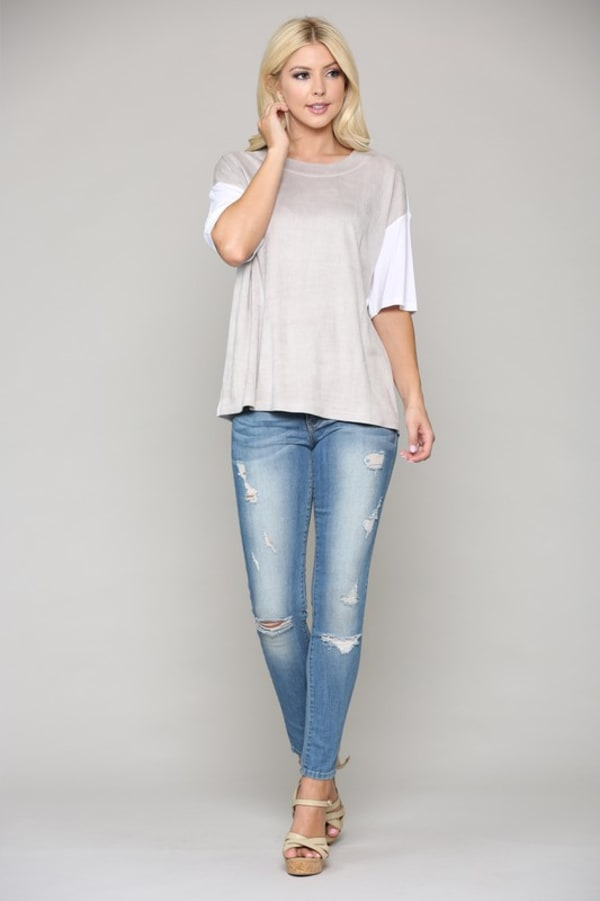 Ali Suede and Jersey Top
