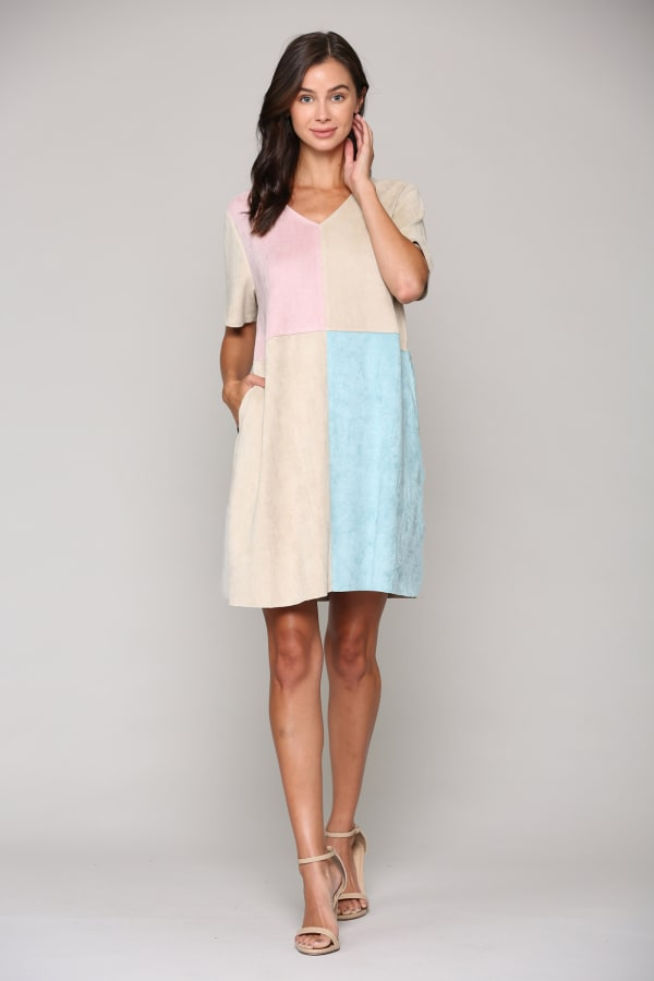 Annalise Stretch Suede Dress - Multi - Front