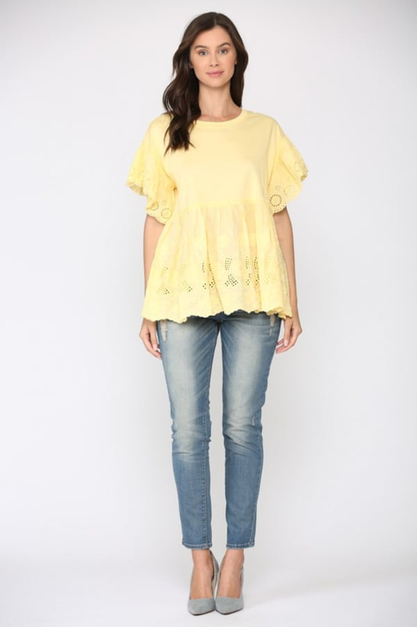 Kayla Eyelet Embroidered Top - Sun - Front