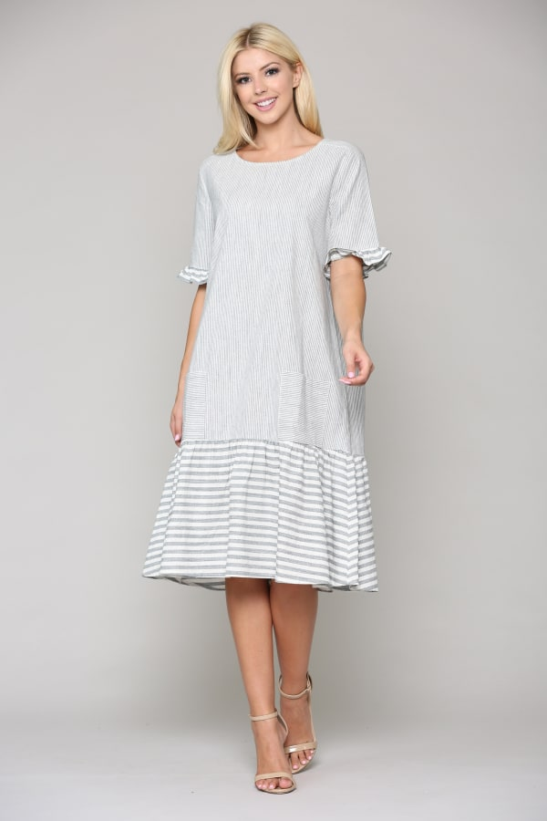 Lacey Dress - Gray / White - Front