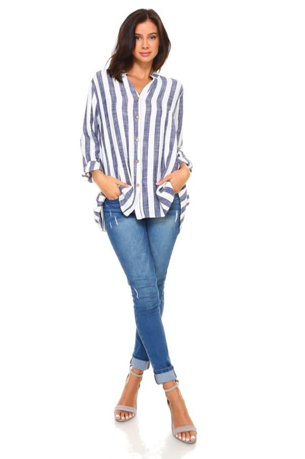 Lauren Cotton Linen Top - Blue / White - Front