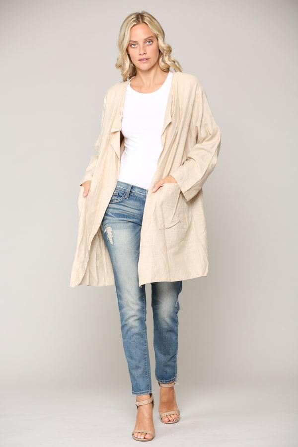 Larissa Linen Jacket - Antique White - Front
