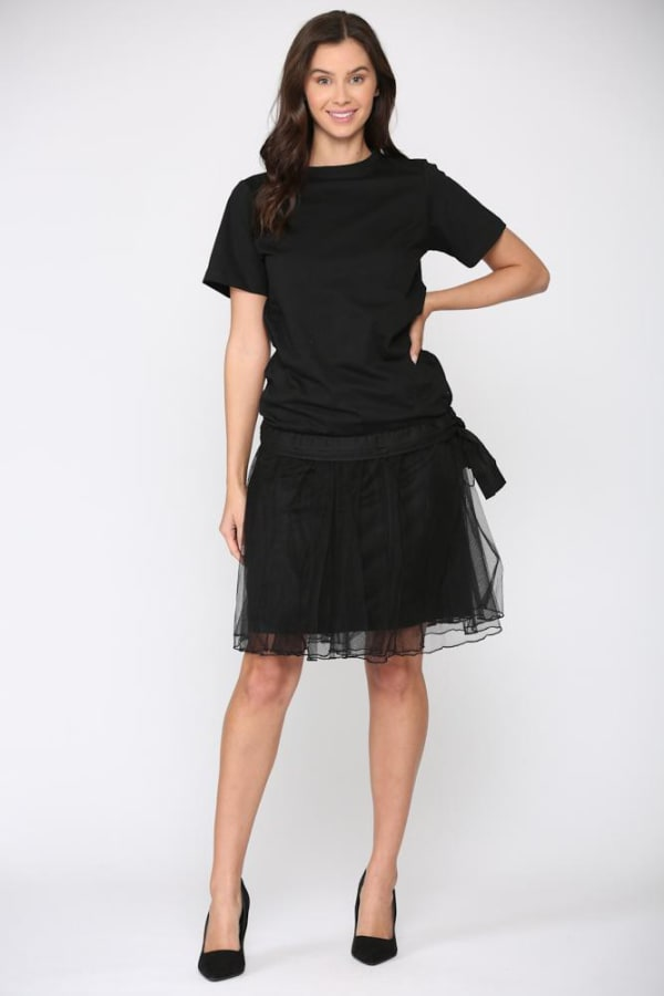 Mia Tulle Skirt - Black - Front