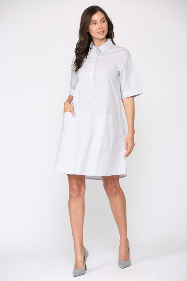 Winnie Front Collar Short Sleeve Cotton Dress