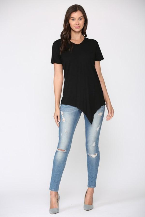 Kendall V-Neck Top - Black - Front