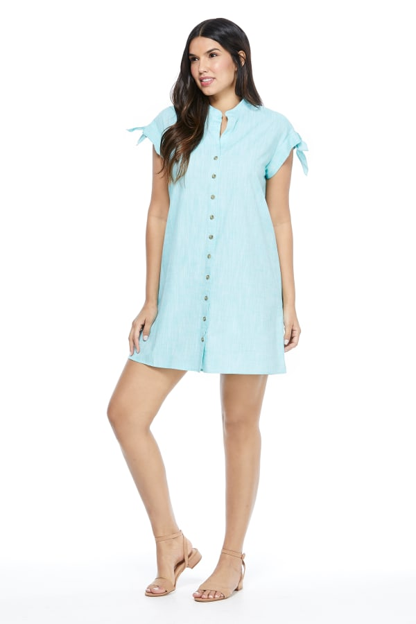 Blue Shirt Dress - Turquoise - Front