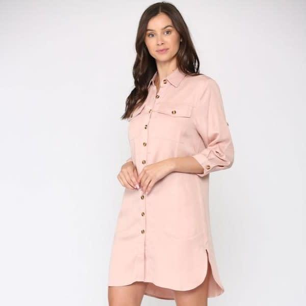 Taylor Tunic Dress - Blush - Front