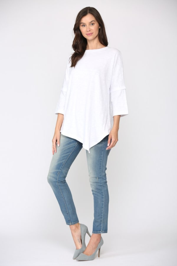 Caroline Asymmetric Top - White - Front