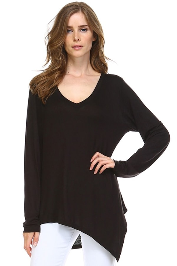 Kelly V-Neck Top - Black - Front