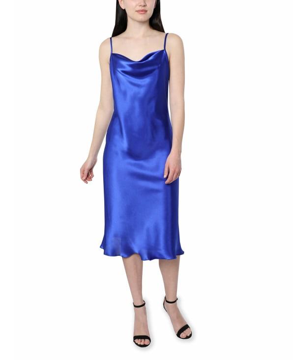Bebe Satin Midi Dress - cobalt - Front