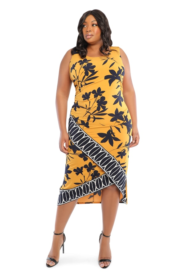 Border Print Tank Dress - Plus - gold/navy - Front