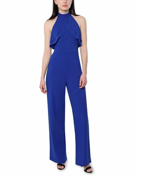 Bebe Halter Jumpsuit - royal - Front