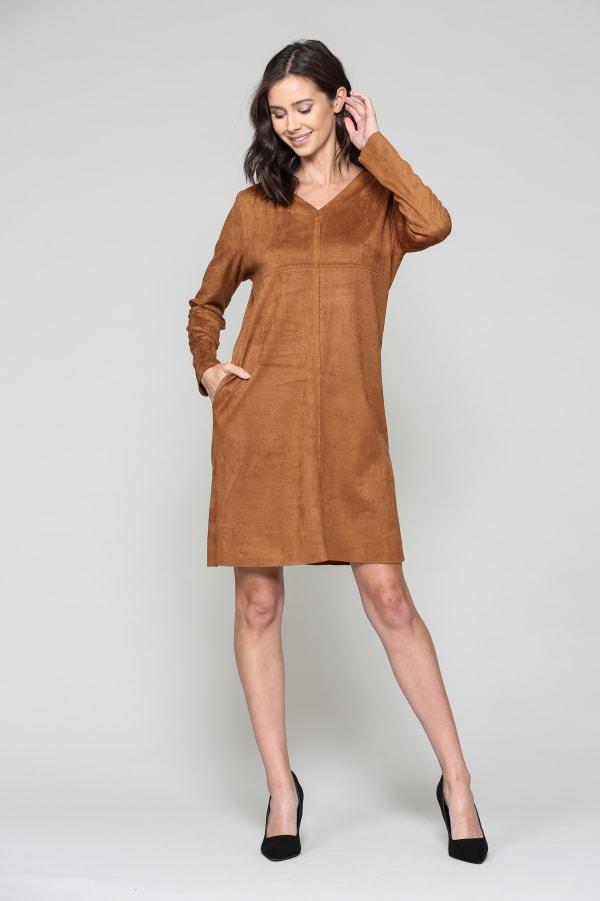 Aurora Long Sleeve V-Neck Dress - Caramel - Front