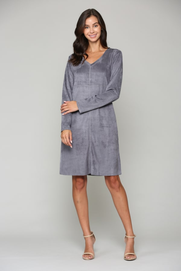 Aurora V Neck with Pockets - Charcoal - Front