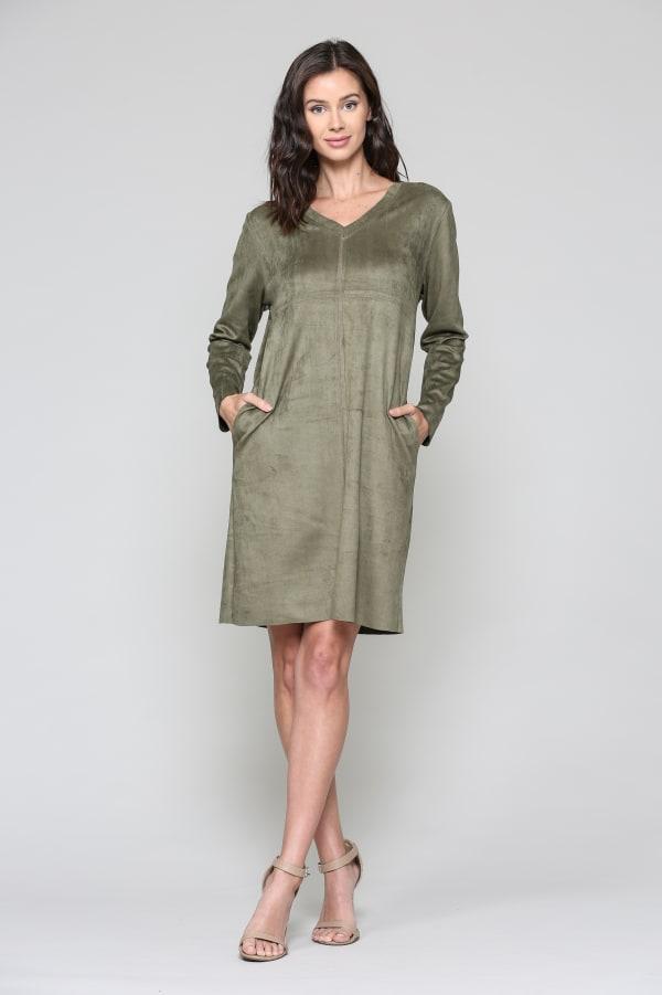 Aurora Long Sleeve V-Neck Dress - Olive - Front