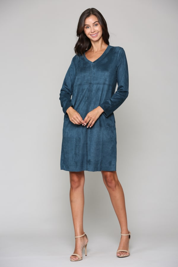 Aurora Long Sleeve V-Neck Dress - Peacock - Front