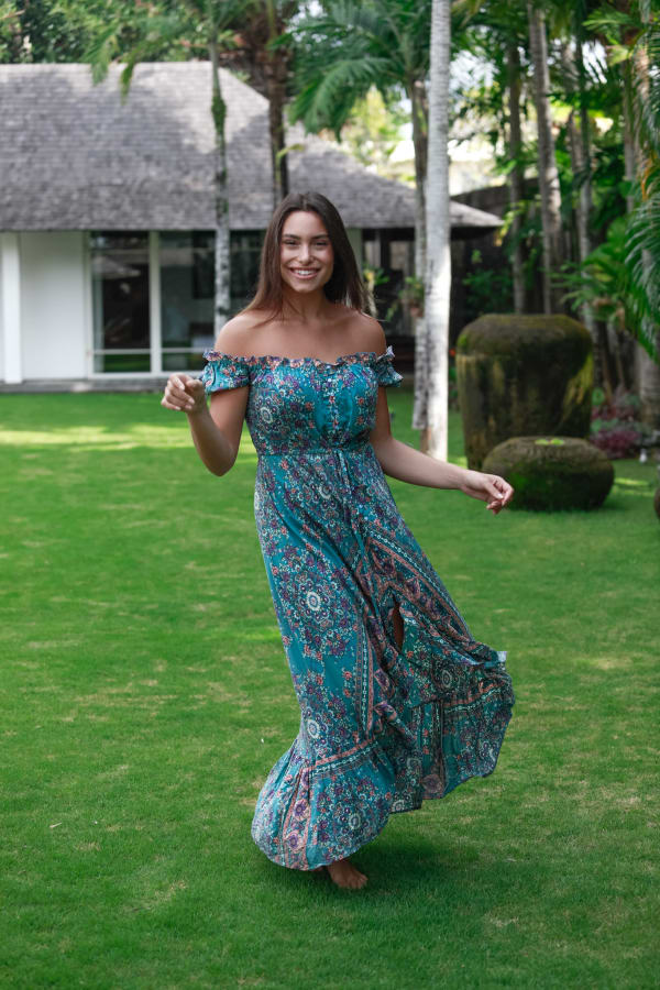 Off-Shoulder Teal Maxi Dress - Teal - Front