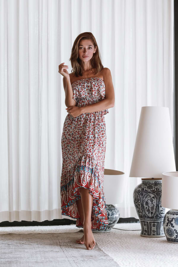 Strapless Floral Dress - Floral - Front