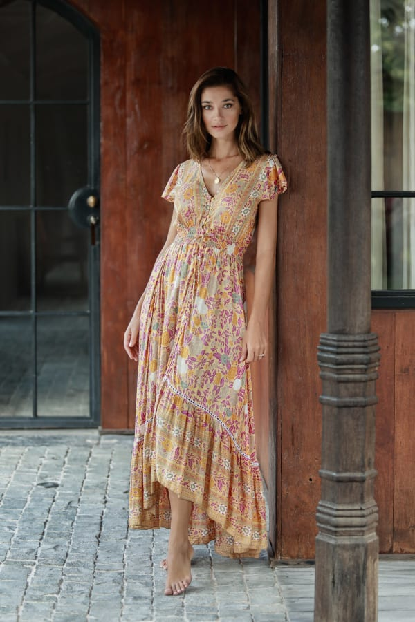 Yellow Floral Maxi Dress - Yellow-Floral - Front
