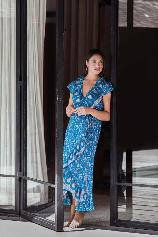 Short Sleeve Wrap Blue Maxi Dress - Blue - Front