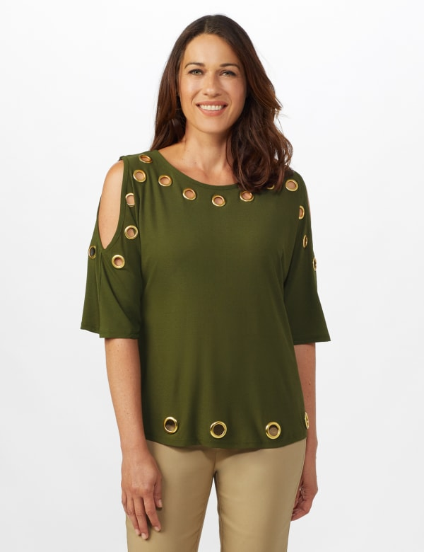 Grommet Cold Shoulder Knit Top - Military Green/ Gold - Front