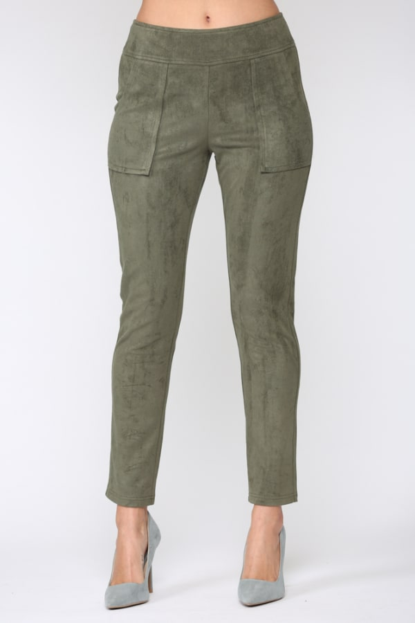 Amelia Suede Relaxed Fit Pants - Olive - Front