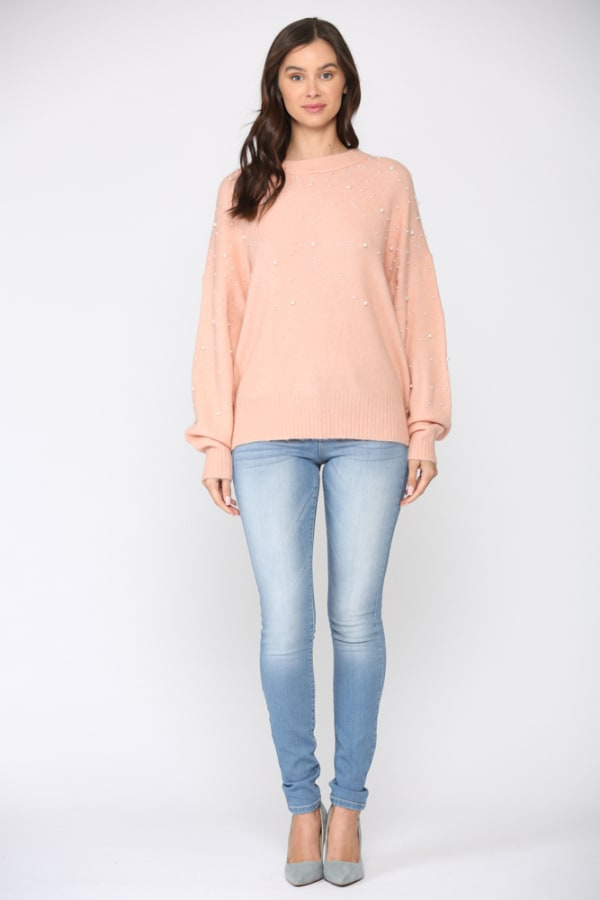 Sharleen Pearl Top - Peach - Front