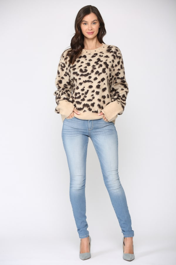 Shaniece Studs Top - Taupe - Front