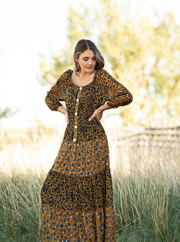 Leopard Floral Peasant Dress - mustard - Front