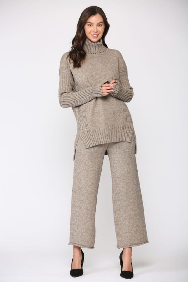 Sabrina Sweater Top - Mocha - Front