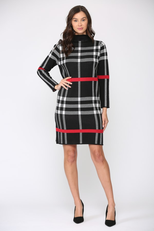 Shayla Tunic Dress - Black plaid - Front