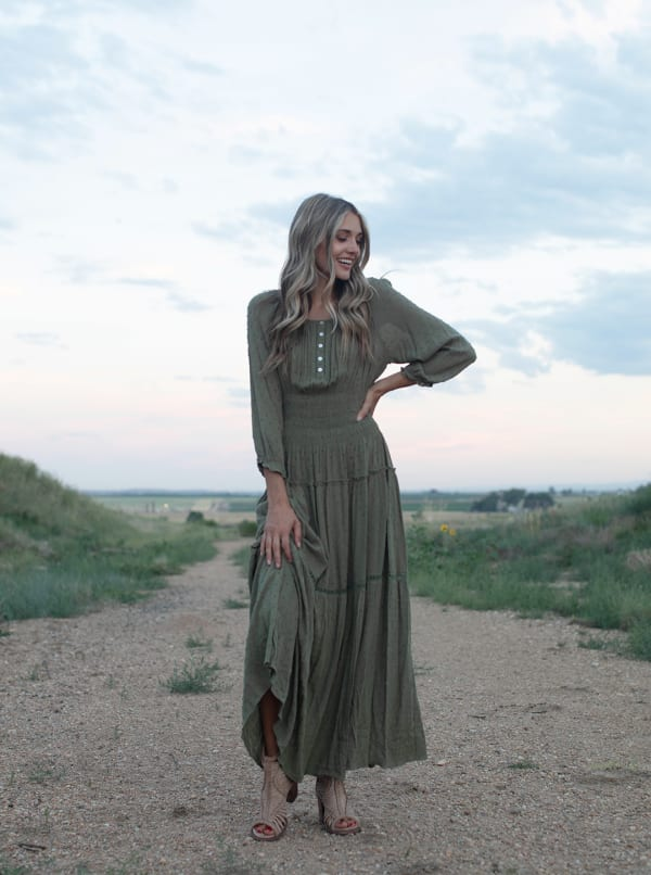 Sage Clip Dot Maxi Peasant Dress - kale - Front